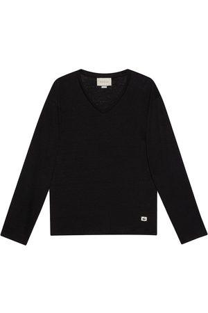 Gucci Homem T-shirts & Manga Curta - V-neck Double G linen T-shirt
