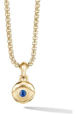 David Yurman 18kt yellow Evil Eye sapphire pendant