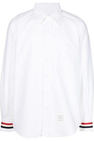 Thom Browne Homem Manga comprida - Grosgrain-trim long-sleeve shirt