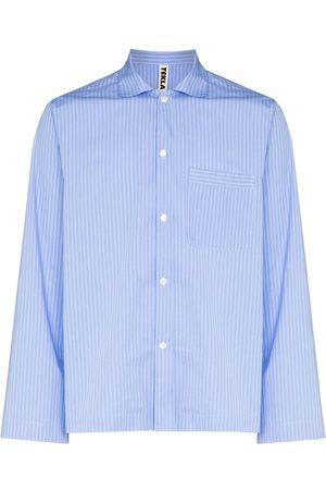 Tekla Pinstriped poplin pajama shirt