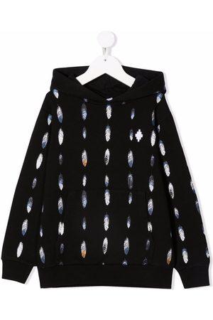 MARCELO BURLON Feather-print cotton-blend hoodie