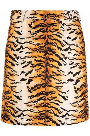 Serafini Tiger-print A-line skirt
