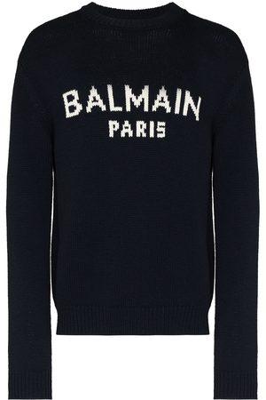 Balmain Homem Camisolas - Logo-intarsia knitted jumper