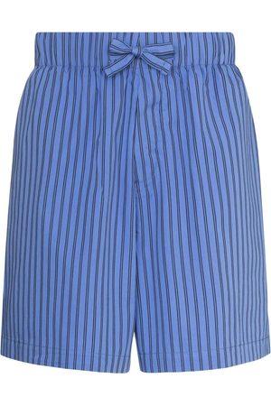 Tekla Striped drawstring pajama shorts