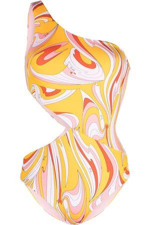 Emilio Pucci Vortici print asymmetric swimsuit