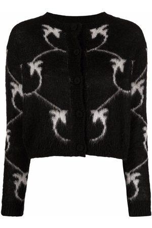 Pinko Intarsia-knit logo knitted cardigan
