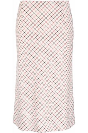 Maison Margiela Check-print wool midi skirt