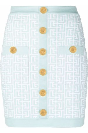 Balmain Mini fitted button decorated skirt