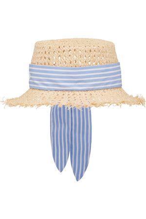 Miu Miu Stripe-detail raffia hat