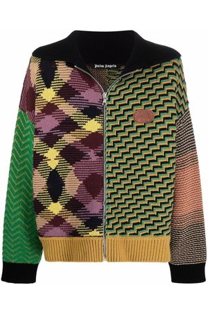 Palm Angels Homem Camisolas - Jacquard patchwork knitted cardigan