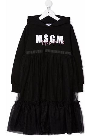 Msgm Logo-print hooded tulle dress