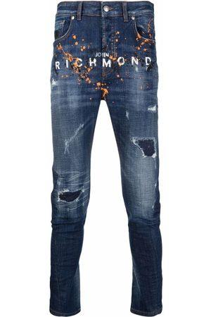 John Richmond Logo-print slim-fit jeans