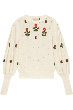 Gucci Floral-embroidered knitted top