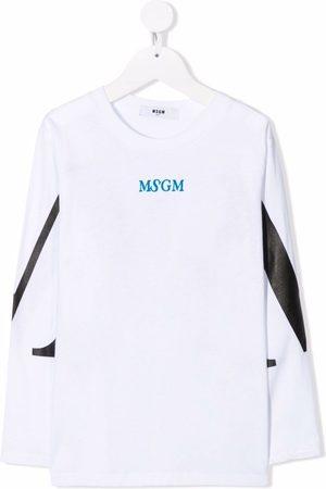 Msgm Logo-print long-sleeve cotton T-shirt