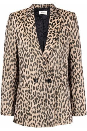 Zadig & Voltaire Double breasted leopard print blazer