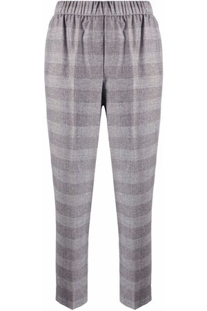 PESERICO SIGN Checked cropped trousers