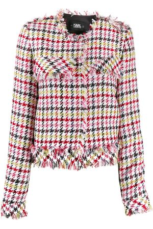 Karl Lagerfeld Fitted houndstooth boucle jacket