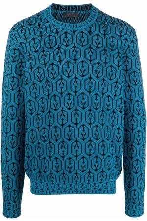 Prada Geometric intarsia-knit jumper