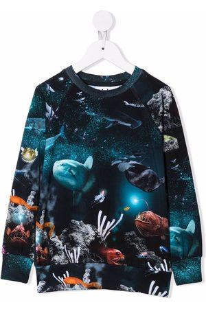 Molo Kids Deep Sea-print stretch-organic cotton sweatshirt