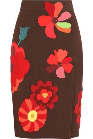 Dolce & Gabbana Floral-appliqué pencil skirt