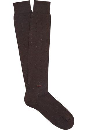 Ermenegildo Zegna Homem Meias - Polka dot cotton-blend socks