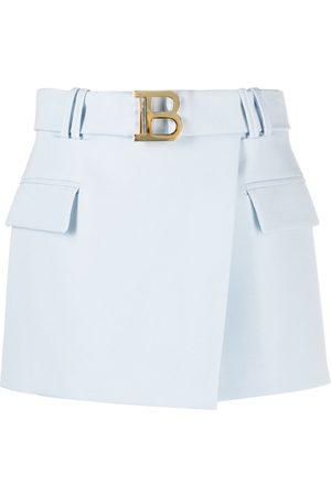 Balmain B buckle wrap mini-skirt