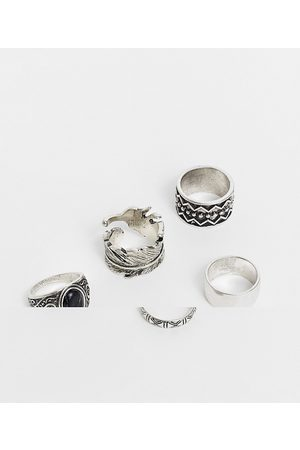 ASOS 5 pack chunky ring set in burnished silver tone