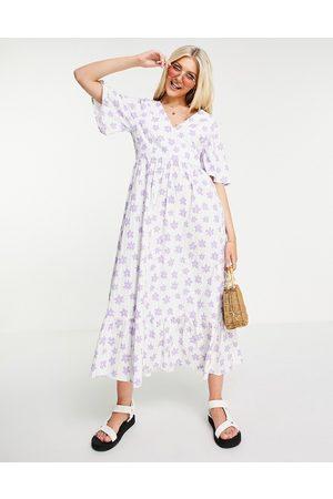 Monki Alice floral print midi seersucker dress in white