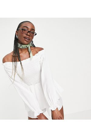 Missguided Tall Bardot shirred playsuit with frill detail in white