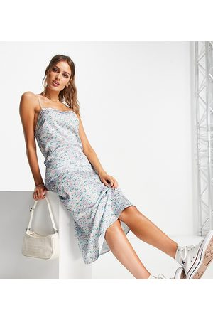 Reclaimed Inspired midi cami dress in blue floral