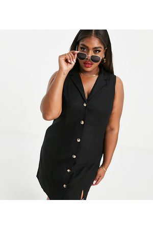 ASOS Curve ASOS DESIGN Curve sleeveless button through mini dress in black