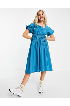 Urban Revivo Gathered detail midi dress in bright blue