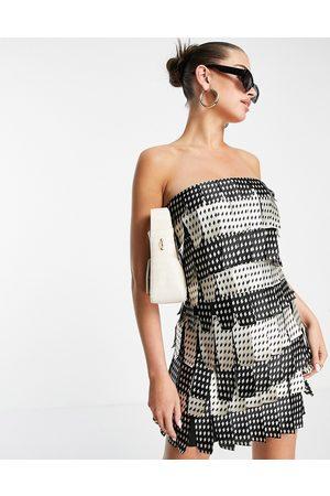 ASOS DESIGN Mono layered satin bandeau mini dress-Multi