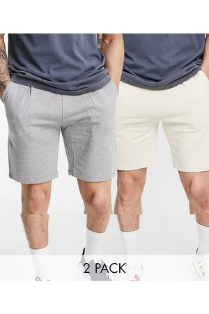 ASOS Pleated jersey shorts 2 pack in beige/grey-Neutral