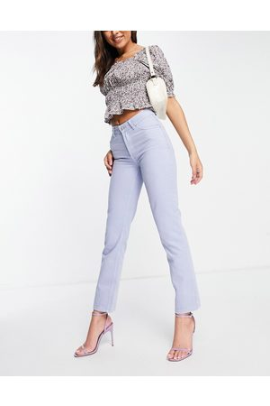 ASOS DESIGN Mid rise '90's' straight leg jean in lilac-Blue