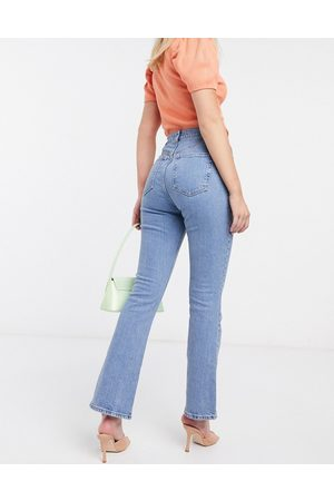 ASOS DESIGN High rise '70's' stretch flare in bright midwash-Blue