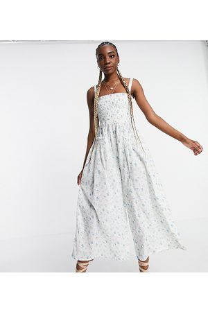 ASOS Tall ASOS DESIGN tall shirred elastic back jumpsuit in meadow floral-Multi