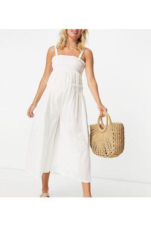 ASOS Maternity ASOS DESIGN maternity shirred elastic back jumpsuit in white
