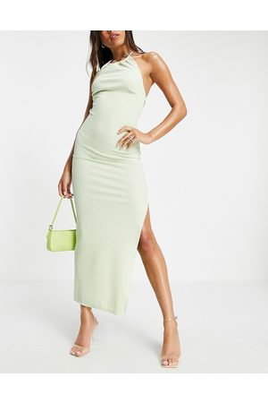 ASOS Ruched glitter halter open back maxi dress in lime-Green