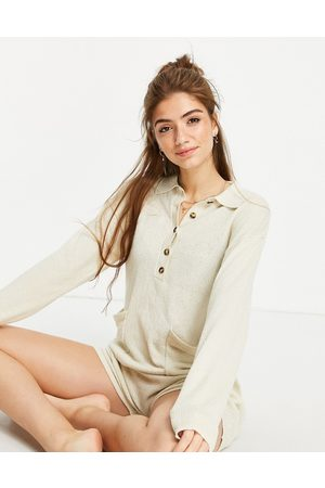 Monki Aja recycled knitted lounge playsuit in camel-Neutral