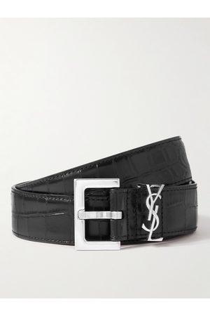 Saint Laurent Homem Cintos - 3cm Croc-Effect Leather Belt