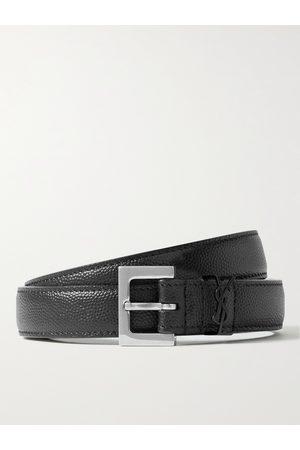 Saint Laurent Homem Cintos - 2cm Pebble-Grain Leather Belt