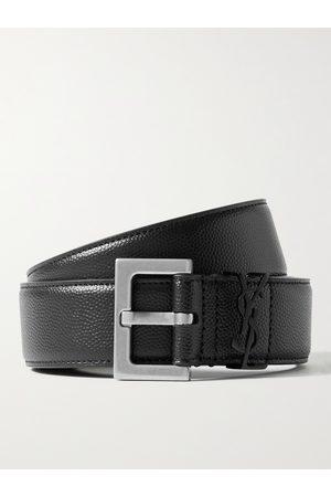 Saint Laurent Homem Cintos - 3cm Pebble-Grain Leather Belt
