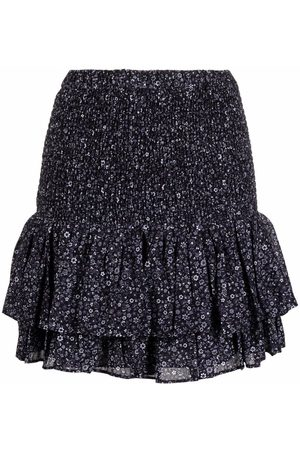 Michael Kors Senhora Saias Estampadas - Floral-print peplum mini skirt