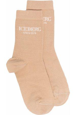 Iceberg Senhora Meias - Ribbed knit logo socks