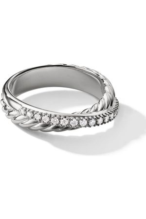 David Yurman Senhora Anéis - Sterling Crossover pavé diamond ring