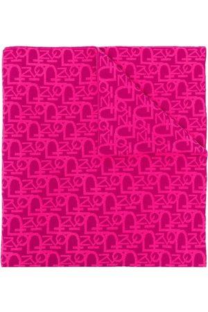 Pinko Intarsia-logo knitted scarf