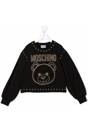 Moschino Menina Camisolas com capuz - Teddy bear-motif studded sweatshirt