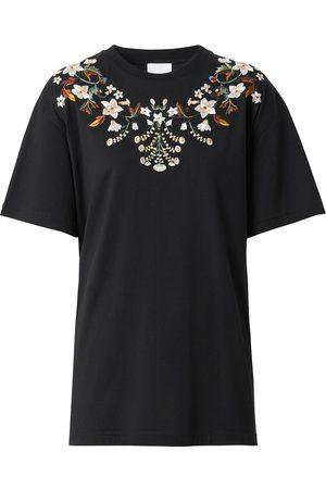 Burberry Senhora T-shirts - Floral-embroidered T-shirt