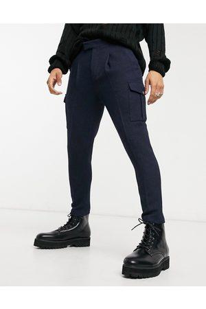 ASOS Homem Calças Cargo - Tapered wool mix cargo smart trousers-Navy